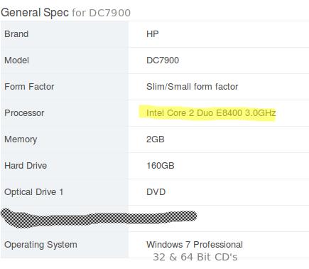 HP DC7900 Specs