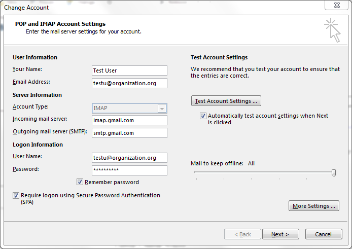 outlook gmail imap configuration