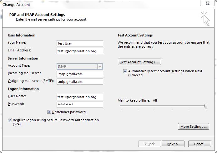 outlook gmail imap configuration