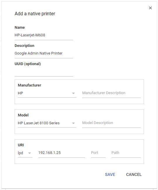 setup native printing google