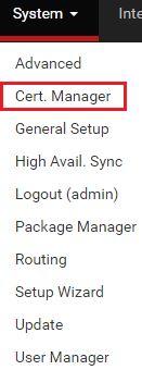 pfsense openvpn certificate manager