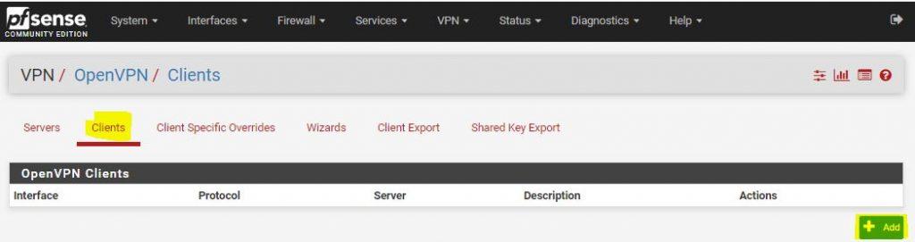 pfsense vpn client setup
