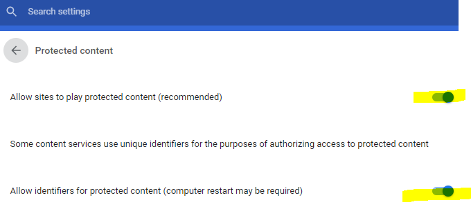 chrome enable protected content