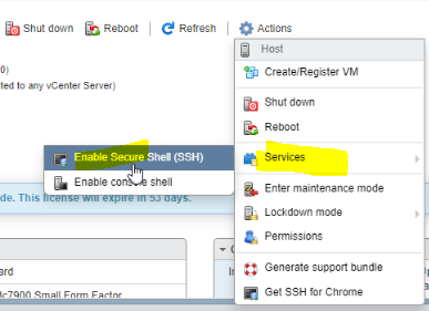 enable ssh esxi server