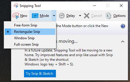snipping tool screenshot windows 10