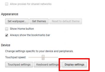 chrome display settings