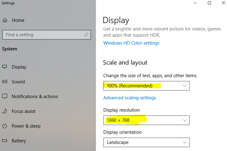 windows 10 resolution and zoom
