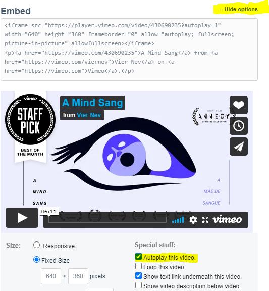autoplay vimeo videos