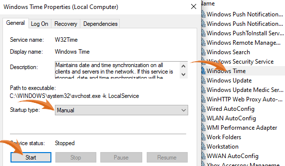 Windows Time Service Stopped