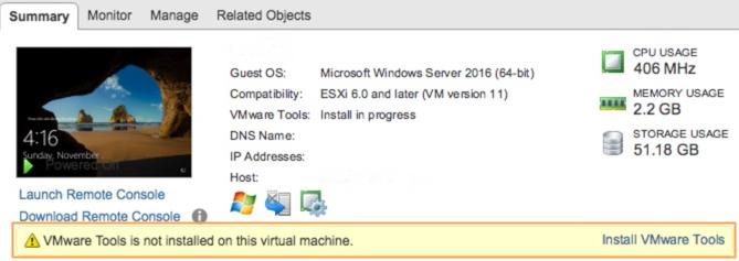 VMware Tools Not Installed